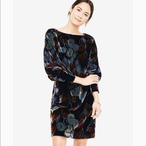 Ann Taylor Teal Moss Velvet Puff Sleeve Dress